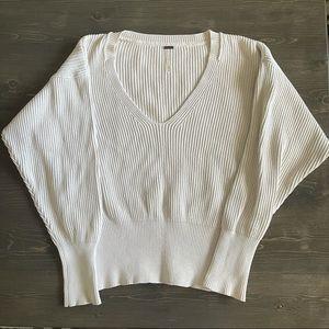 Free People Cream V Neck Cotton Sweater Medium